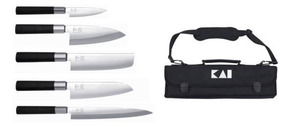 kai wasabi black messerset mit Tasche und 5 Messern Japan Set